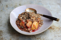 Amelia Freer's Apple & Plum Crumble with Vanilla Custard, Gluten & Diary Free