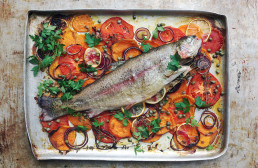 Baked Trout on a Bed of Vegetables