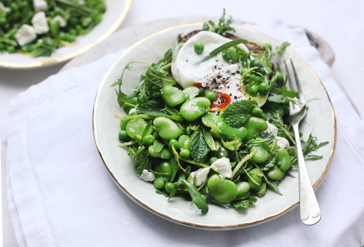 Egg on Toast, Broad Beans with Herbs & Feta