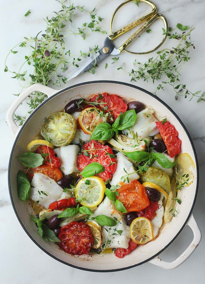 White Fish, Tomato, Fennel & Herb Bake by Amelia Freer