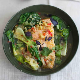 Poached Thai Salmon & Pak Choi