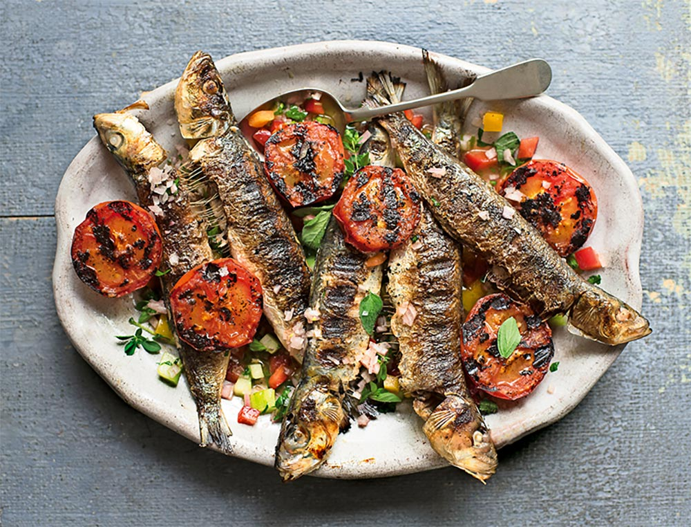 Grilled Sardines & Tomatoes with Crunchy Herb Dressing