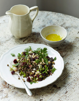 Lentil, Beetroot & Hazelnut Salad with Ginger Dressing by Amelia Freer