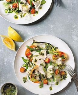 Poached Chicken, Crunchy Vegetables & Herb Dressing by Amelia Freer