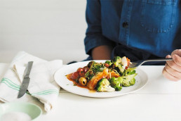 Poached Fish with Spinach in a Chilli-Tomato Sauce