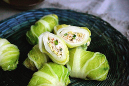 Prawn, Sesame & Ginger 'Gyoza' in Cabbage Wrapper