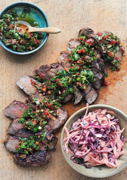 Sharing Steak with Chimichurri & Smoky Slaw