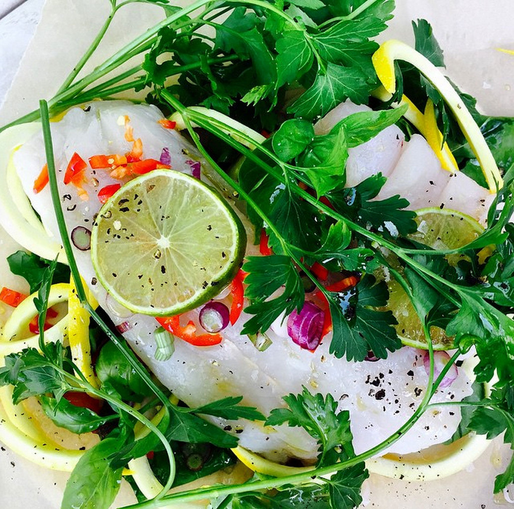 Hake in a bag with zucchini ribbons