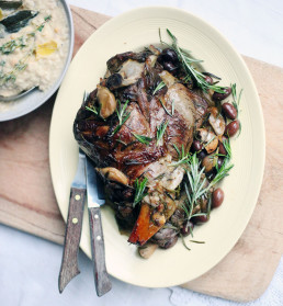 Slow Cooked Leg of Lamb with Creamy Cannellini Beans