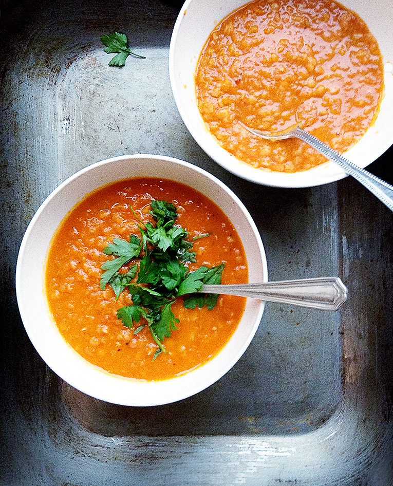 Amelia Freer's Spicy roasted tomato and lentil soup