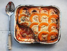 Vegan Squash, Mushroom and Swiss Chard Lasagne: Perfect plant based comfort food recipe by Amelia Freer