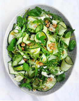 Ribbon Zucchini Salad with Rocket, Feta & Hazelnuts