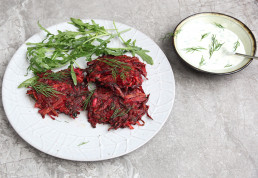 Beetroot and parsnip fritters