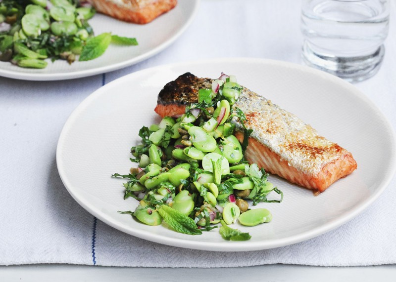 Baked Salmon with Broad Bean Salsa