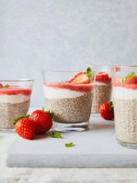 Creamy Coconut Strawberry Chia Breakfast Porridge