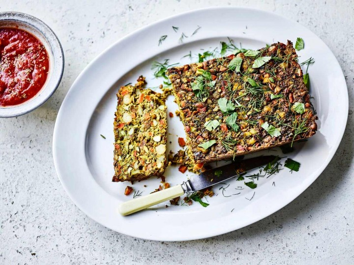 Nut Roast served with a rich tomato sauce by Amelia Freer