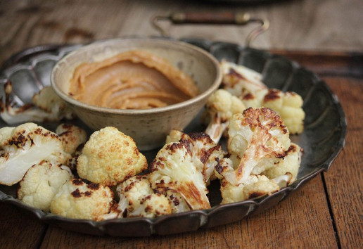 Roasted Cauliflower with Tahini & Miso Dipping Sauce
