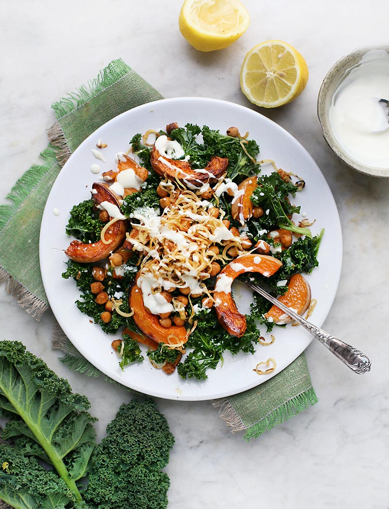 Spiced Chickpea, Kale & Squash (or Pumpkin) Salad