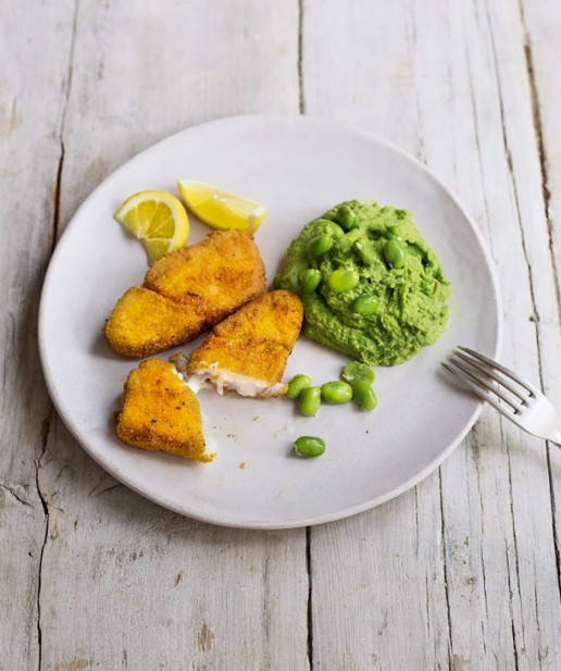 Fish Fingers with Broad Beans