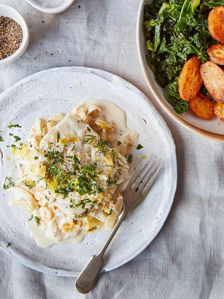 Creamy Cod with Fennel and Leak by Amelia Freer