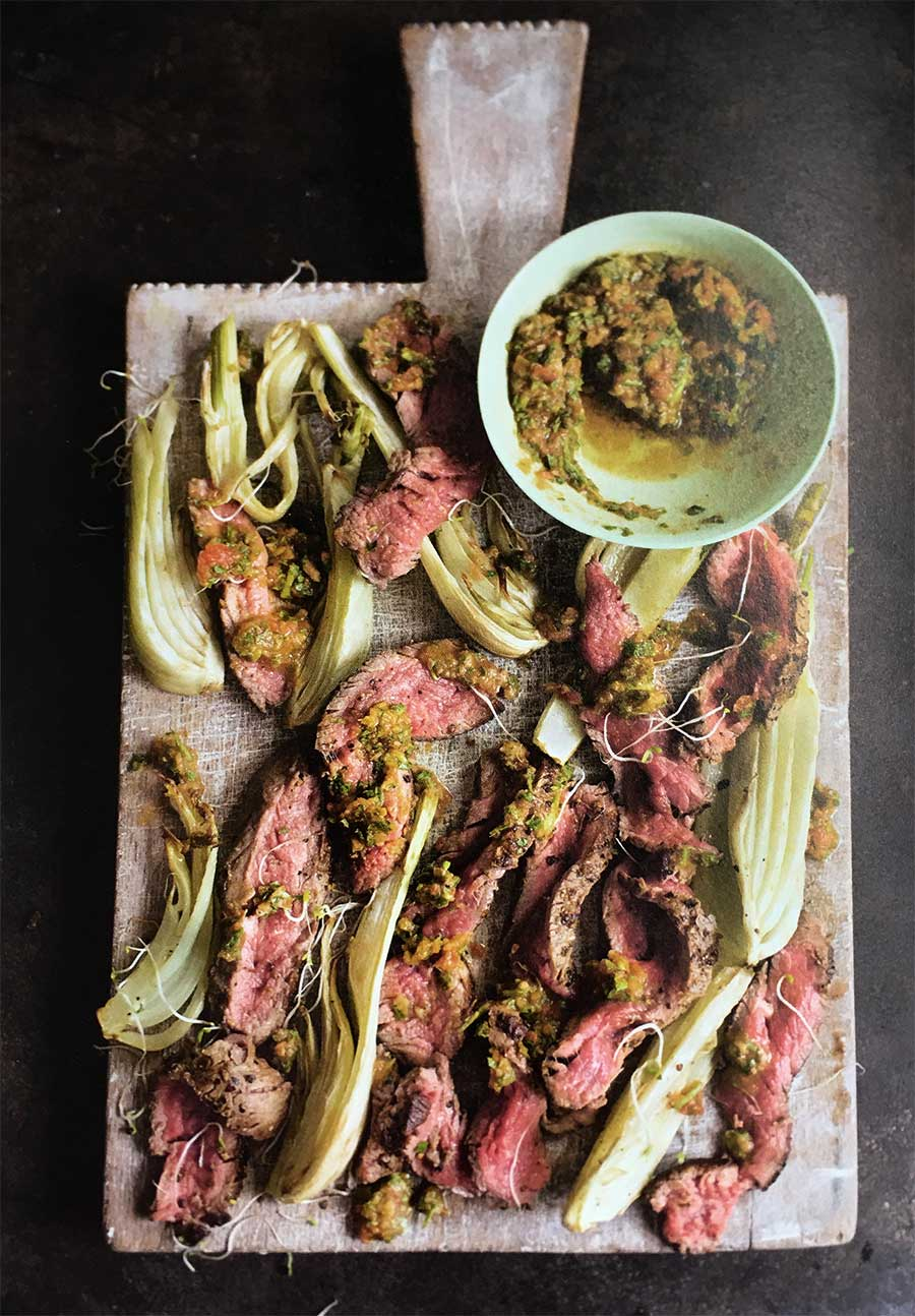 Minute Steak with Roasted Fennel and Arugula and Caper Dressing